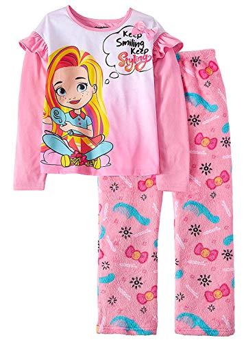 Nickelodeon Sunny Day Keep Smiling Keep Styling Girls' Pajamas Long Sleeve Shirt and Fleece Pants 2 Piece Set (LG, 10/12)