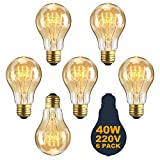 Vintage E27 Edison Screw Bulb 40w Dimmable A19 Antique Filament Tungsten Loop Style 23 Anchors Incandescent Bulbs for Home Light Lamp Fixtures Nostalgic Decorative Glass 220V [Energy Class E] (6 PACK)