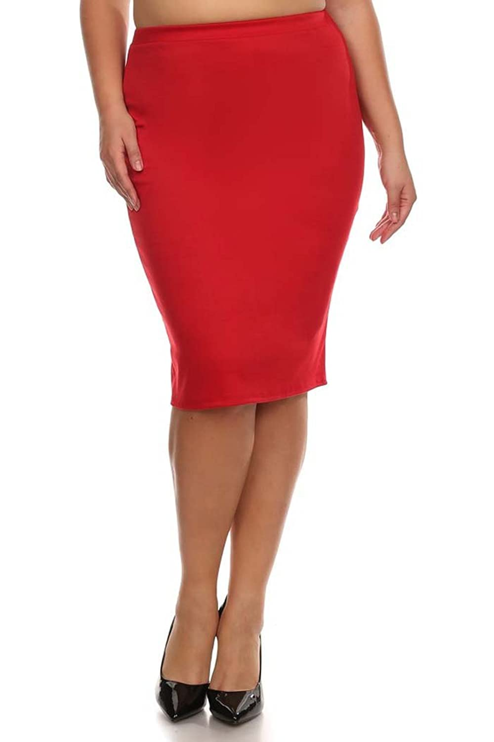low-cost Women's PLUS Solid Midi Length Pencil Skirt. MADE IN USA ...