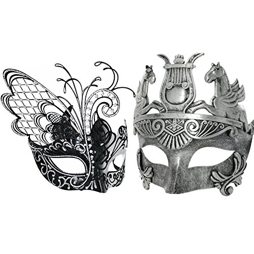 Silver/Black Flying Butterfly Women Mask & Silver Roman Warrior Men Mask Venetian Couple Masks For Masquerade/Party/Ball Prom/Mardi Gras/Wedding/Wall Decoration by CCUFO