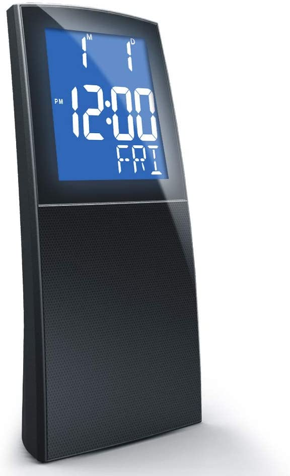 Lyght Jumbo LCD Dual Alarm PLL FM Clock Radio, Snooze Function,Soothing Nature Sounds
