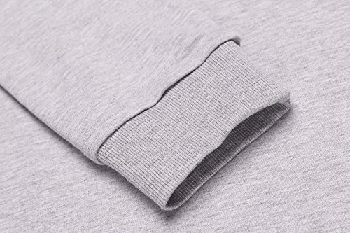 Long Split Dress Hoodie Women's Pockets ACEVOG Kangaroo Sweatshirt Round 3 Hem Sleeve with gray qgXaH