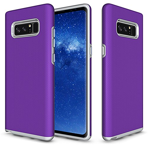 Galaxy Note 8 Case, KAMII [Anti-Slip] Slim design Dual Layer Drop protection & Shockproof Armor Defender Reinforced Bumper Protective Rugged Case Cover for Samsung Galaxy Note 8 (Purple)