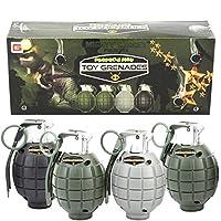 Mighty Gadget 4 Pack de juguetes para niños Pretende jugar granadas de juguete con explosión y sonido realistas (Paquete de caja de regalo hermoso - Color aleatorio)