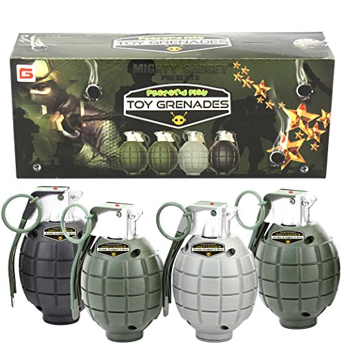 Mighty Gadget 4 Pack of Kids Toys Pretend Play Toy Grenades with Realistic Explosion Sound & Light ( Beautiful Gift Box Package - Random Color)