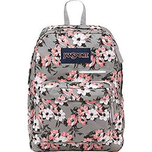 JanSport Womens Digital Carry Mainstream Digibreak Backpack - Coral Sparkle Pretty Posey / 16.7H X 13W X 8.5D (Jansport Backpack In Coral)
