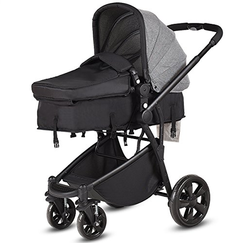 Costzon Infant Stroller, 2-in-1 Foldable 4-Wheel Baby Toddler Stroller, Convertible Bassinet Reclining Stroller Compact Single Baby Carriage with Adjustable Handlebar and Storage Basket (Gray)