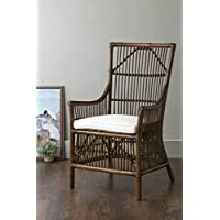 East at Main Walton Brown Square Rattan Accent Chair, (27x24x43)