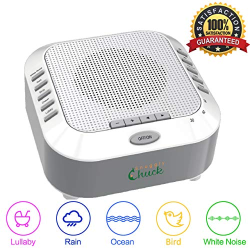 White Noise Machine Sleep Therapy Soothing Sound Machine, Perfect for Babies, Children and Adults. Spa Relaxation, Noise canceling with Five Natural Sounds,Great Shower Gift SnugglyChuck ()