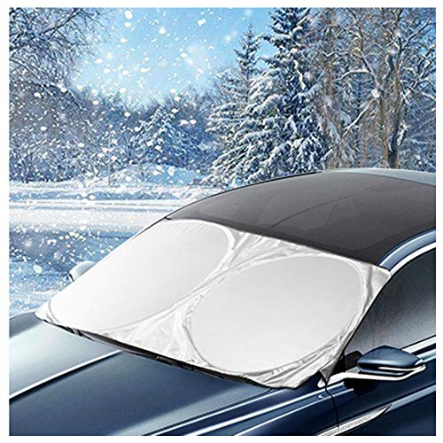 AROBA Windshield Sun Shade Windshield Snow Cover Car Sun Shade + Bonus Sticker All Weather Winter Summer Auto Sun Shade for Cars Ice Removal No More Scraping Door Flaps Windproof Universal Fit 63X34