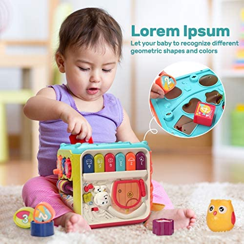 CUTE STONE BABY ACTIVITY CUBE TOY,6 IN 1 MULTI-FUNCTIONAL LEARNING CUBE TOYS WITH MUSIC & LIGHT,SHAPE SORTER,PLAY DRUM,GEARS,BABY EARLY EDUCATIONAL PLAY CUBE CENTERS GIFTS FOR INFANT KIDS BOYS GIRLS