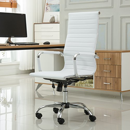 Roundhill Furniture Panoton Chromel Contemporary High Back Office Chair, White