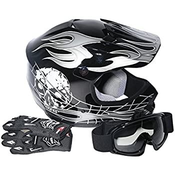 XFMT Youth Kids Motocross Offroad Street Dirt Bike Helmet Goggles Gloves Atv Mx Helmet Black Skull (XL, Black Skull)
