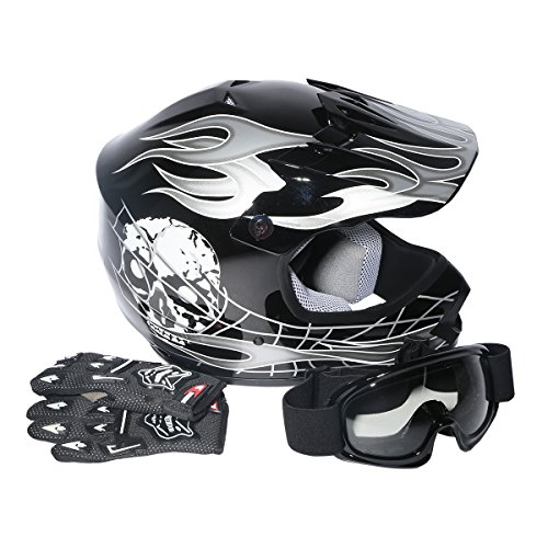 XFMT Youth Kids Motocross Offroad Street Dirt Bike Helmet Goggles Gloves Atv...