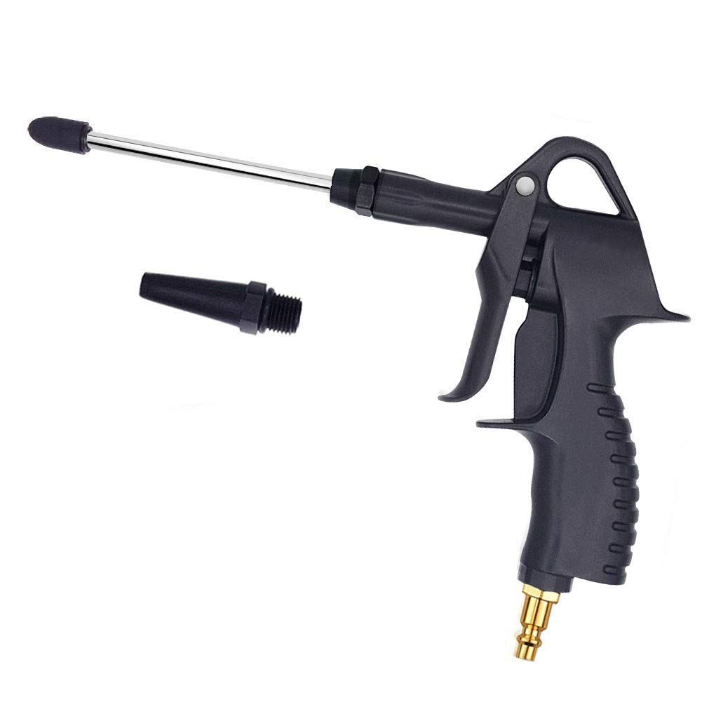 Air Blow Gun, Lukasa Air Nozzle Blow Gun for Air Compressor with Adjustable Air Flow and 4.9'' Extended Nozzle, Air Gun Blower Adapt to Any Standard Air Hose, Quick Connect, Black