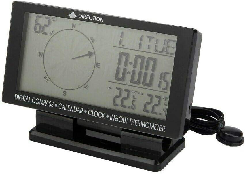 5 IN 1 Digital Uhr,Hintergrundbeleuchtung 8V-24V Auto Kalender KFZ Outdoor Kompass Thermometer MASO Multifunktion Digital LCD Ewiger Kalender