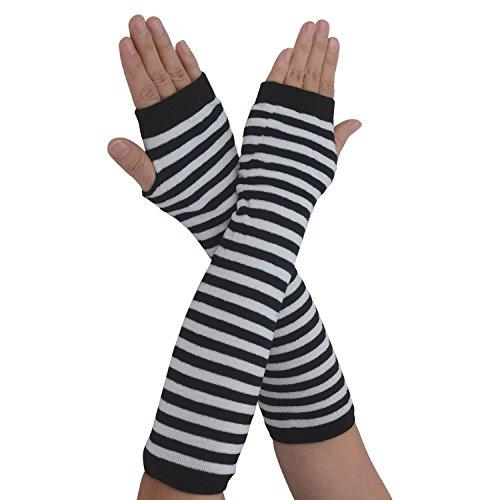 White Stretchy Cotton Gloves (Flammi Women's Fingerless Arm Warmers Gloves Knit Thumb Hole Gloves Mittens (Black/White Stripe))