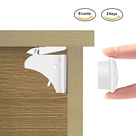 Child Safety Cabinet Locks, Baby-proof Invisible Magnetic Safety Locks Toddler Protector for Home Kitchen Cupboard Drawer Locking System (4 Locks+1 Keys) Yosoo123