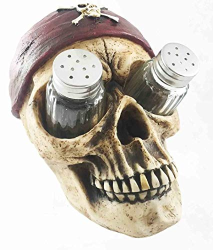 Figurine Pirate Skull with Bandana Glass Salt and Pepper Shaker Halloween Decor ()