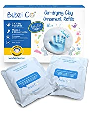 Baby Handprint & Footprint 2X Air-Drying Clay Ornament Refills for Newborns & Infants to Make More Ornaments, Personalised Keepsake for Baby Nursery Decor - Great Baby Gift for Baby Registry