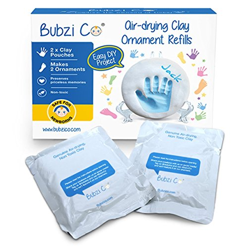 Gift Footprint - Bubzi Co Baby Handprint & Footprint 2X Air-Drying Clay Ornament Refills for Newborns & Infants to Make More Ornaments, Personalized Keepsake for Baby Nursery Decor - Great Baby Gift for Baby Registry