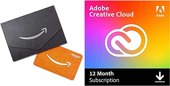 Adobe Creative Cloud + $10 Amazon Gift Card | 12-month Subscription with auto-renewal, billed at $39.99 monthly, PC/Mac | Entire collection of Adobe creative tools plus 100GB storage