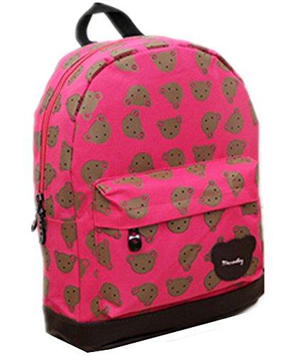 Moolecole Little Bear Printing Baby Canvas Backpack Kindergarten Boys Girls Travelling Bag Rose Red