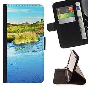 For Apple (5.5 inches!!!) iPhone 6+ Plus / 6S+ Plus Case , Naturaleza Agua- la tarjeta de Crédito Slots PU Funda de cuero Monedero caso cubierta de piel