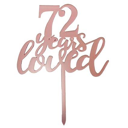 Decoración para tarta de 72 años de amor en oro rosa para ...