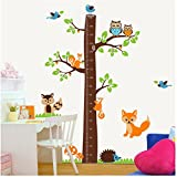 SugarM Large jungle owl tree wall sticker baby boys girls bedroom growth chart decal woodland fox squirrel hedgehog wall decor for baby nursery removable (180cm height)
