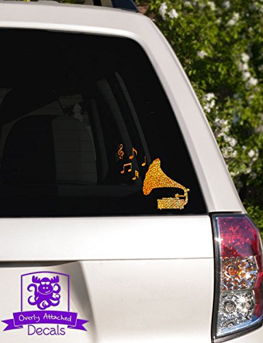 Overly Attached Decals Phonograph with Music Notes Specialty Vinyl Car Decal - 6