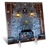 3dRose Jos Fauxtographee- Yellowstone Fireplace - The Yellowstone Hotel with The Huge Fireplace of Brick - 6x6 Desk Clock (dc_293356_1)