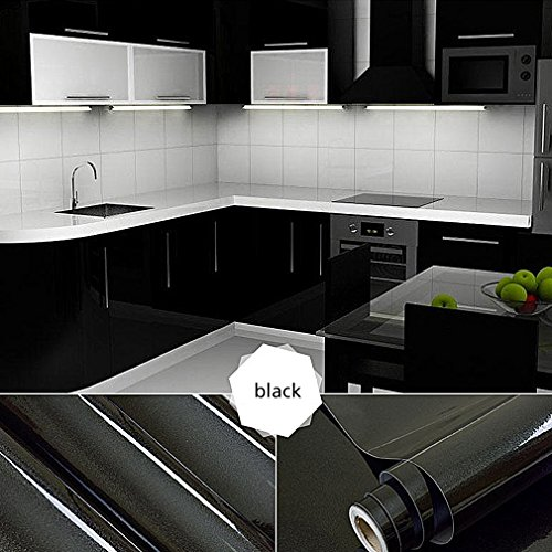 Oxdigi Black Self-Adhesive Film Contact Paper Decorative for Kitchen Countertops Cabinets Waterproof Removable Wallpaper Peel and Stick 24
