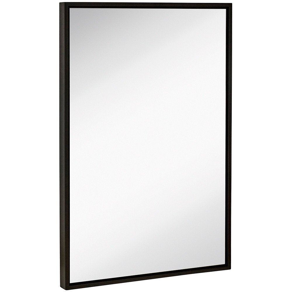 Clean Large Modern Black Frame Wall Mirror | Contemporary Premium Silver Backed Floating Glass Panel | Vanity, Bedroom, or Bathroom | Mirrored Rectangle Hangs Horizontal or Vertical by Hamilton Hills