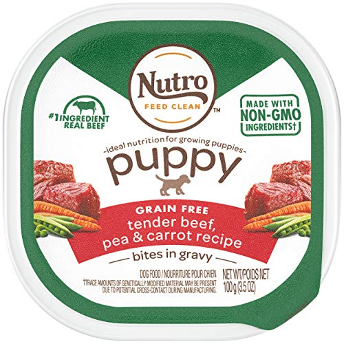NUTRO PUPPY High Protein Grain Free Natural Wet Dog Food Bites in Gravy Tender Beef, Pea & Carrot Recipe, (24) 3.5 oz. Trays
