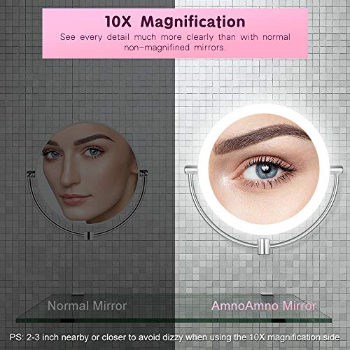 """AmnoAmno LED Wall Mount Makeup Mirror with 10x Magnification,8.5'' Double Sided 360° Swivel Vanity Mirror with 13.7"""" Extension and Adjustable Light for Bathroom or Bedroom"""