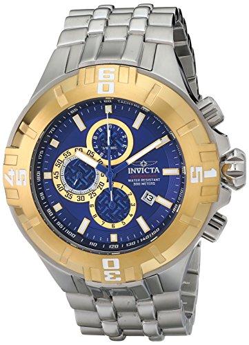 Dial Chronograph Blue Bezel (Invicta Mens Reef Pro Diver XXL Chronograph Gold Tone Bezel Blue Dial Bracelet Watch 12359)