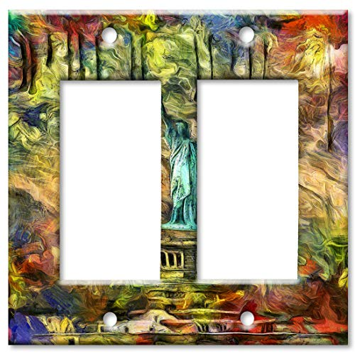 Faceplate Of Liberty Statue - Art Plates 2-Gang Rocker (Decora) OVERSIZE Switch Plate/OVER SIZE Wall Plate - Statue of Liberty Abstract