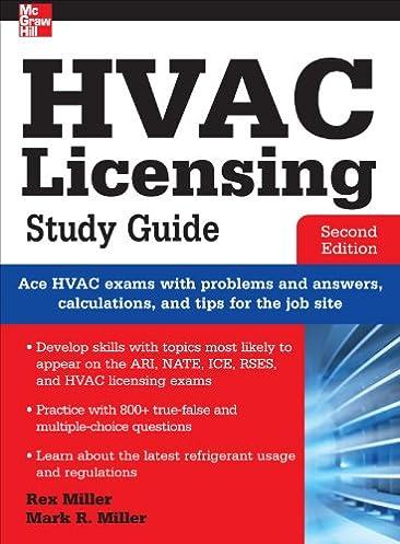 hvac licensing study guide second edition rex miller mark r rh amazon com Test Questions HVAC Certification
