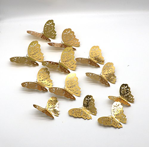 3D Butterfly Wall Decals Stickers Decorations, Gold Hollow-out 36 PCS Butterflies for party Home DIY Decor