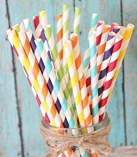 Charmed Rainbow stripe paper straw set of 150 straws with all the color of the rainbow! -