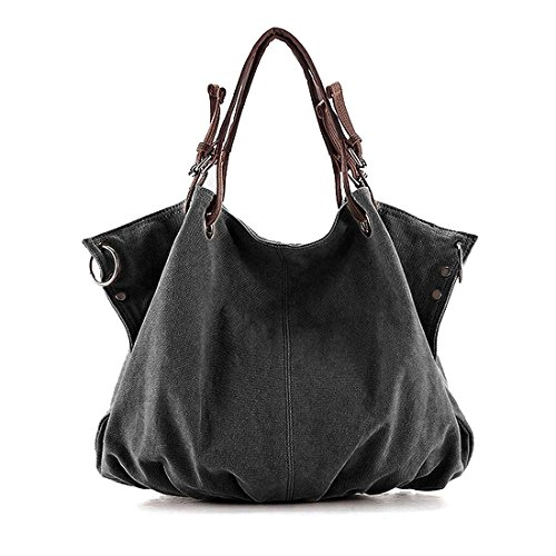 BMC Charcoal Black Denim Multi Zipper Pocket Oversized Lined Fashion Handbag Satchel Shopper Tote (Womens Oversized Handbag)