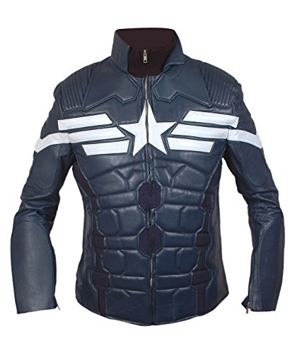 Captain America The Winter Soldier Genuine Leather Jacket 2014 Grey Star and Stripes-XL