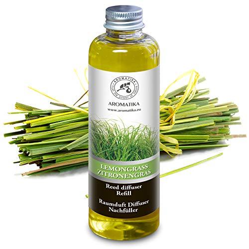 Lemongrass Reed Diffuser Refill, Natural Essential Lemongrass Oil 6.8oz - Fresh & Long Lasting Fragrance - 0% Alcohol - Best for Aromatherapy - Home - Office - Fitness Club - Restaurant - Boutique (Lemongrass Diffuser Refill)