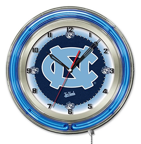 North Carolina Tar Heels HBS Neon Blue College Battery Powered Wall Clock ()