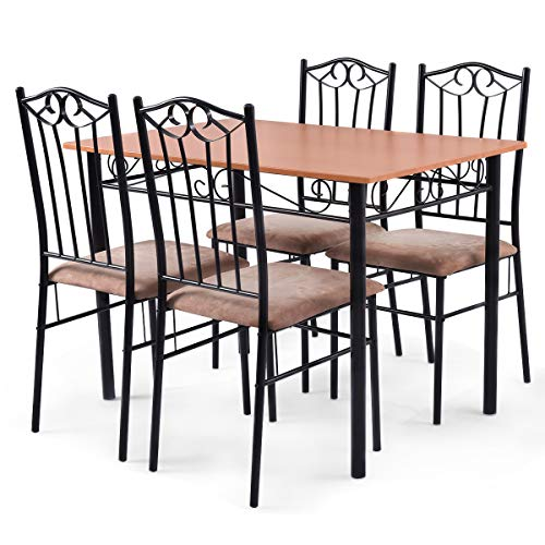 Tangkula 5 Piece Dining Table Set Vintage Wood Top Padded Seat Dining Table and Chairs Set Home Kitchen Dining Room Furniture by Tangkula (Image #5)