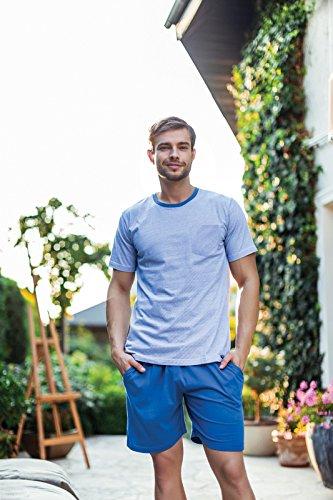 Key Premium Herren Hauskleidung Sky, modernes 2-Teiliges Homewear Pyjama Set, Top Qualität, ideal als Geschenk, designed in EU