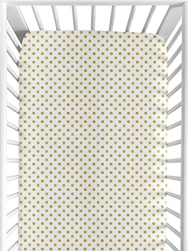 Sweet Jojo Designs Gold and White Polka Dot Baby or Toddler Fitted Crib Sheet for Watercolor Floral Collection (White Crib Sheet With Gold Polka Dots)