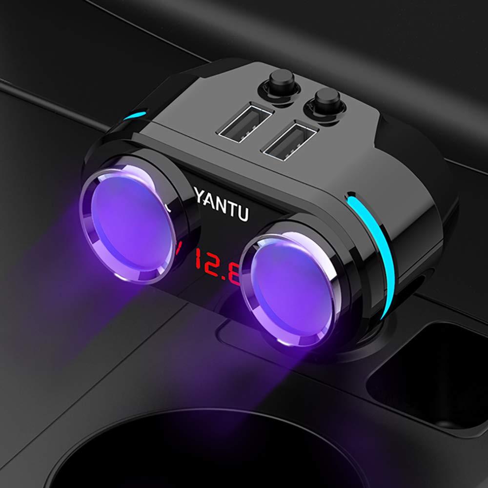 Cigarette Lighter Adapter 3 Socket Cigarette Lighter Splitter with LED Voltage Display Dual USB Car Charger On/Off Switches 12V Car Splitter Adapter with Replaceable Fuse (2 Socket)