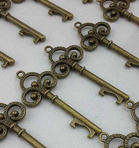 [40x Small Antique Skeleton Key Bronze Wedding Favor Bridal Shower Steampunk Decoration] (Steampunk Decorations)